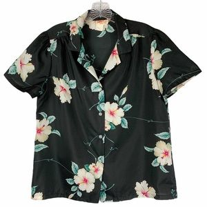 Vintage Hawaiian Black Floral Button Front Top M
